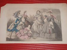 ANTIQUE FRENCH FASHION PRINT  MID 1800'S