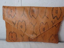Retro Envelope Clutch Purse Brown Leather Pebbled Decorated Snake Lined Handbag