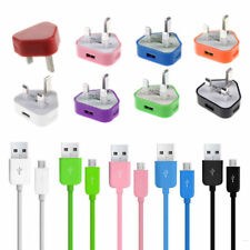 UK.Mains Charger Plug + Micro USB Data Sync Cable For Android Phones Samsung LG