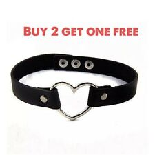 Goth Punk Enchanting Leather Collar Rivet Heart Choker Necklace