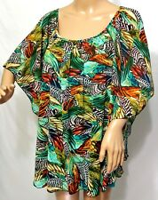Melissa Paige Women Plus Size 1x Lined Green Rust Feather Tunic Top Blouse Shirt