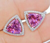4CT Pink Sapphire & White Topaz 925 Solid Sterling Silver Earrings Jewelry, V9