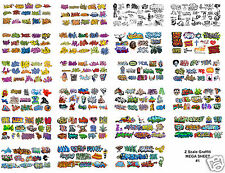 Z Scale Custom Graffiti Decals MEGA SHEET #1 Huge 8.5. x 11 Sheet