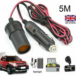 5M Car Cigarette Lighter 12V Extension Cable Adapter Socket Charger Lead UK