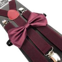 Dark Wine Color Bow Tie & Suspender Set Tuxedo Wedding Formal Men's Accessories