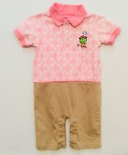 Littlest Golfer Turtle Pink Khaki Burmuda Cotton Short Sleeve Romper, 24 mos.