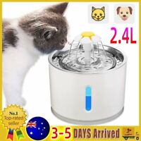 2.4L Automatic Electric Pet Water Fountain Cat Dog Waterfall LED Drinking Bowl