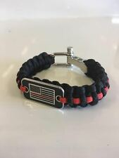 FireFighter Flag Thin Red Line Paracord Survival Bracelet Fireman Fire Honor USA