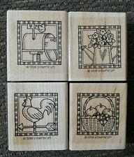 Stampin Up COUNTRY COLLECTION Set of 4 Wood Mounted Rubber Stamps Lot Rooster
