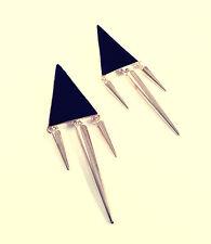 Aretes Estado de picos de Triángulo Geométrico Negro-Joyas vintage oro Glam
