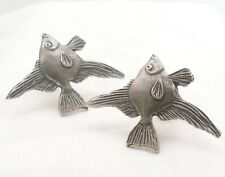 Large Angel Fish Cufflinks in Fine English Pewter, Handmade, Gift Boxed