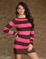 SEXY Casual Long Sleeve Striped Mini Dress Chocolate/Pink Size 8-10 CLUB/PARTY