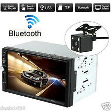"7"" Double 2Din In Dash Bluetooth Touch Car Stereo HD Camera MP5 Radio FM USB Aux"