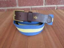 Southern Tide Web Canvas Leather Belt Size 40 Blue Yellow Skipjack Fish Logo