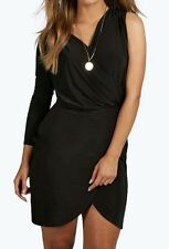 Black Party / Night One Sleeve Wrap Front Dress size 12 - FREE POST