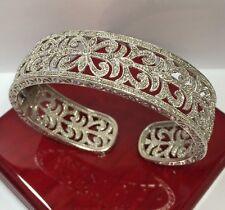 "Rare $999 Designer Sterling Silver Diamond Filigree Pave Cuff Bangle Bracelet 7"""
