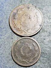 MEXICO 1927 2 Centavos + 1906 1 Centavo Coins #6111