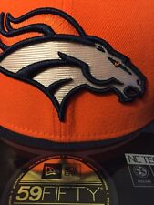 NWT New Era 59fifty SIZE 7 Denver Broncos ORANGE FITTED FLAT BILL Hat Cap