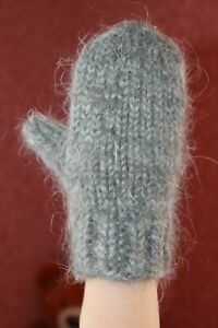 handknitted mittens Kids winter warm thick angora goat down rabbit unisex