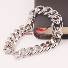 Cuban Chain Braclet 9Inch Mens Jewelry 15Mm silver Stainless Steel Fashion Curb