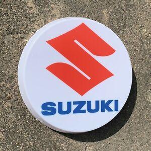 SUZUKI MOTORCYCLE LED ILLUMINATED WALL LIGHT SIGN PETROL GARAGE CAR AUTOMOBILIA