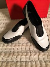 ANNE KLEIN Womens Comfort Slip-On Black/White Leather loafer Shoe Sz 8.5