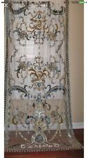 Italian Embroidered Ready Made Sheer Blue Curtains