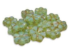 10mm Seafoam Opal Picasso Czech Glass Table Cut Flat Flower Beads 915) #3236