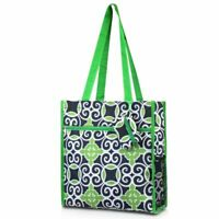 Women Fashion All Purpose Tote Carry Bag for Shopping Travel Navy Green Swirls