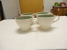 7 VINTAGE PROVINCIAL TULIP~IVY WREATH SAGE GREEN COFFEE CUPS   HARKERWARE