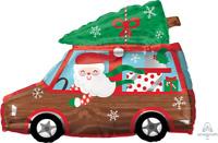 CHRISTMAS STATION WAGON CAR SANTA & REINDEER FOIL BALLOON PARTY DECORATION TREE
