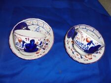 2 Gaudy Welsh porcelain cups and saucers,