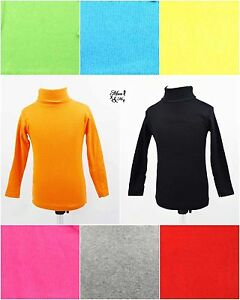 Kids Boys Girls Toddler Polo Top Cotton Roll Neck Long Sleeve Jumper Turtle Neck