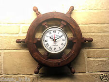 "Wooden Wheel Clock for Wall 12"" ✿ Sheesham Wood Vintage Antique type ✿Home Decor"