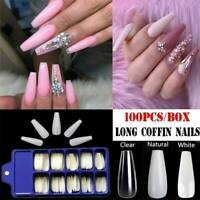 100X Full Cover Ballerina False Nail Tips Long Coffin Fake Nails Art Manicure UK