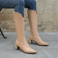 Womens Mid Block Heels Knee High Riding Boots Pointed Toe Zipper Shoes Plus Size