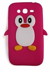 Hot Pink Silicone Penguin Phone Case for Samsung Galaxy Grand I9080 and Neo Plus