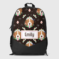 Personalised Cute Dog Faces Floral Girls Kids Children's School Bag Backpack