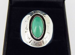 Vintage Sterling Silver Green Turquoise Ring Size 10 1/2