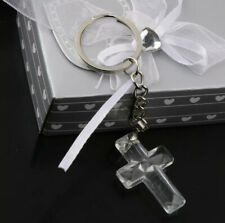 Holy Clear Crystal Cross Keychain Token Occasion Wedding Favor