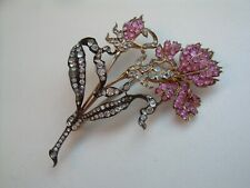 Antique Edwardian Amazing Huge Flower Brooch Silver & Gold Front Precious Stones