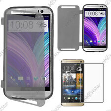 Housse Etui Coque Portefeuille Silicone Gel TPU Noir HTC One M8 2014 + Verre