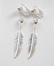 PRETTY ROSE & FEATHER LEAF DANGLES - SILVER-PLATED CLIP ON EARRINGS (or hooks)