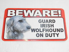 BEWARE! Guard Dog On Duty Sign - Irish Wolfhound