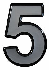 3D Aufkleber Hotelzimmer Briefkasten Hausnummer 900058 in Silber 1x Nummer 5