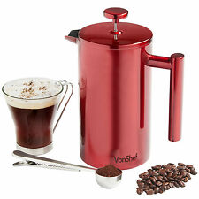 VonShef 8 Cup/1L Cafetiere Red Stainless Steel Double-Wall Filter Coffee Maker