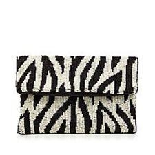 """Clever Carriage Company Handbeaded """"Monte Carlo"""" Foldover Bag  $149 Zebra"""