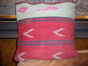 "Unique  Kilim Pillow Cover 17x17"" Case from Kilim Rug Hidden Zipper Amazing Work"