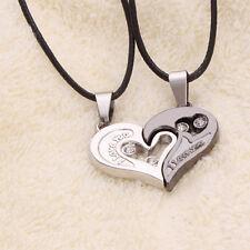 2X/Paare Halskette Dual Herz Edelstahl Anhänger Liebe I Love You Design Partner