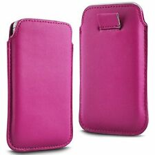 For Panasonic Eluga Power - Pink PU Leather Pull Tab Case Cover Pouch